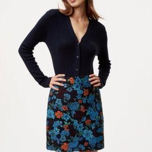 Loft Forest Blooms Navy Floral Skirt